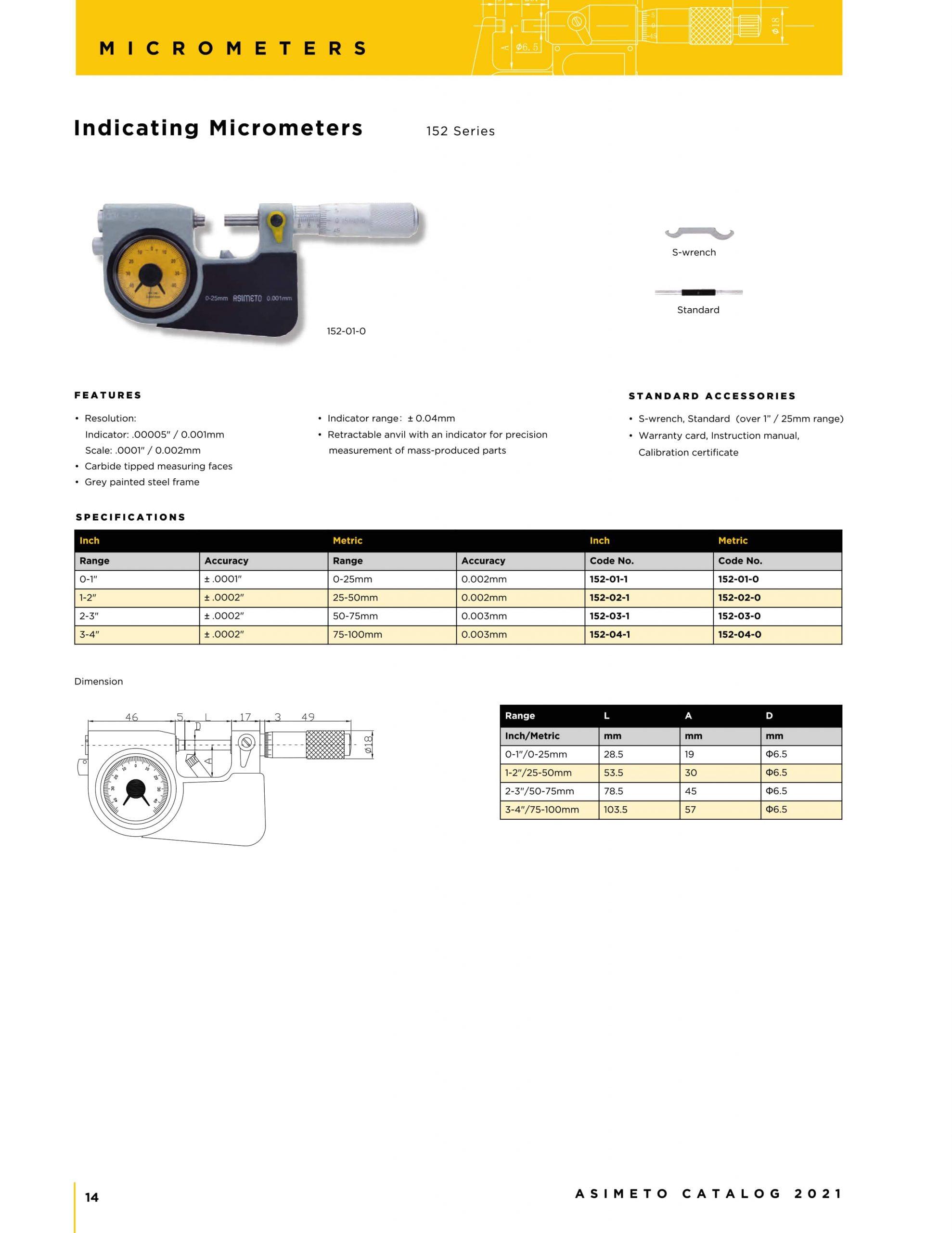 کاتالوگ میکرومتر ساعتی آسیمتو asimeto ( پاسومتر )