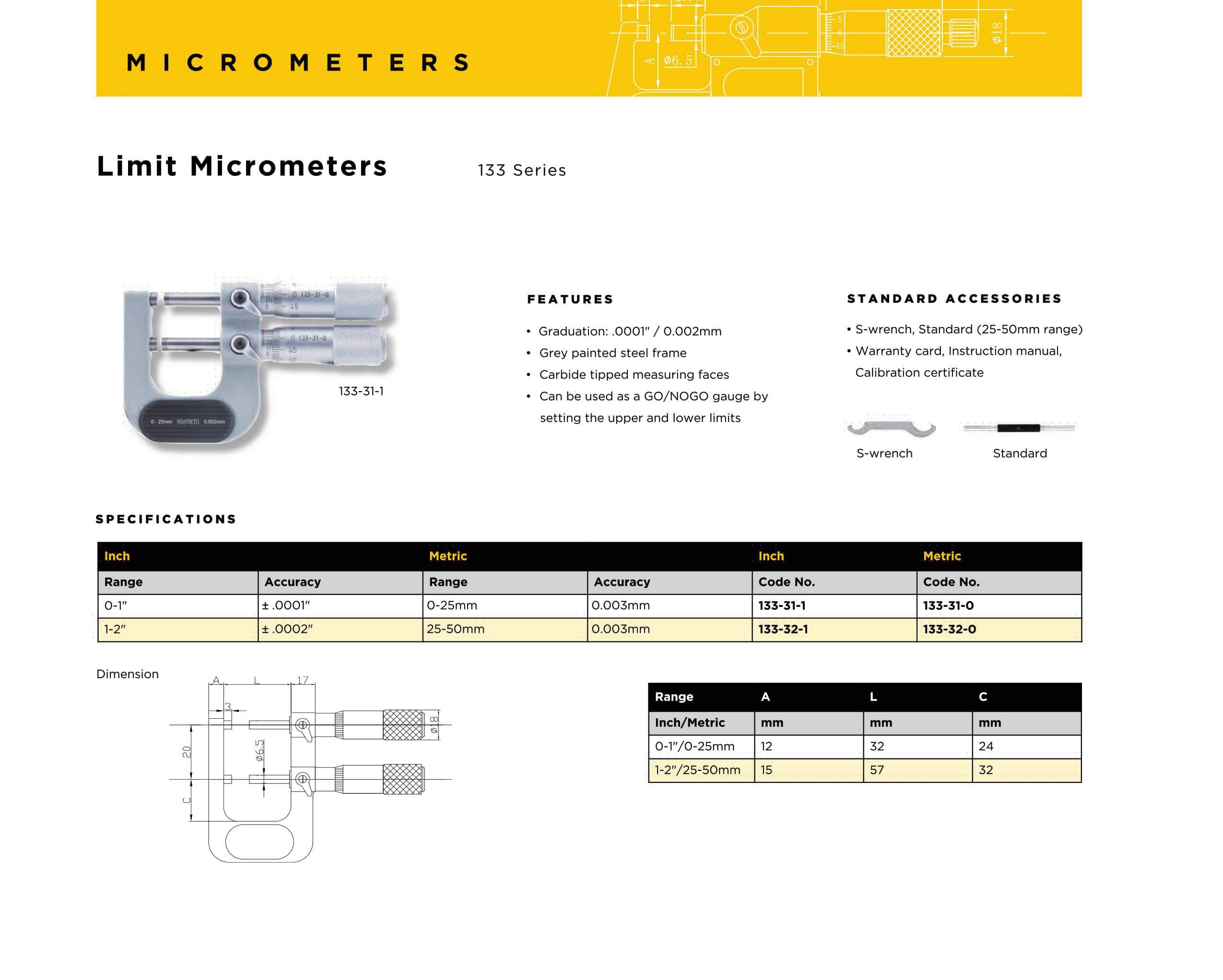 کاتالوگ میکرومتر خارج سنج دوقلو ( حدی ) آسیمتو asimeto