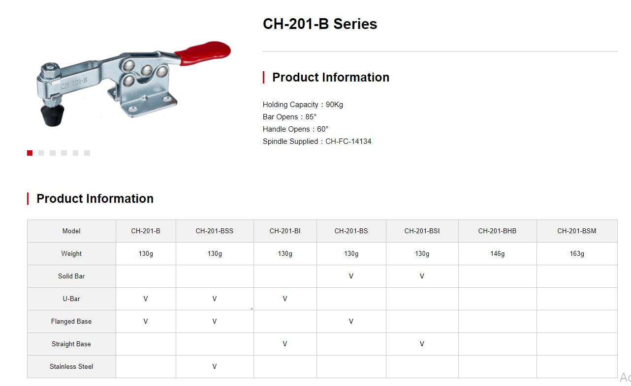 کاتالوگ کلمپ دسته افقی clamptek CH-201-B