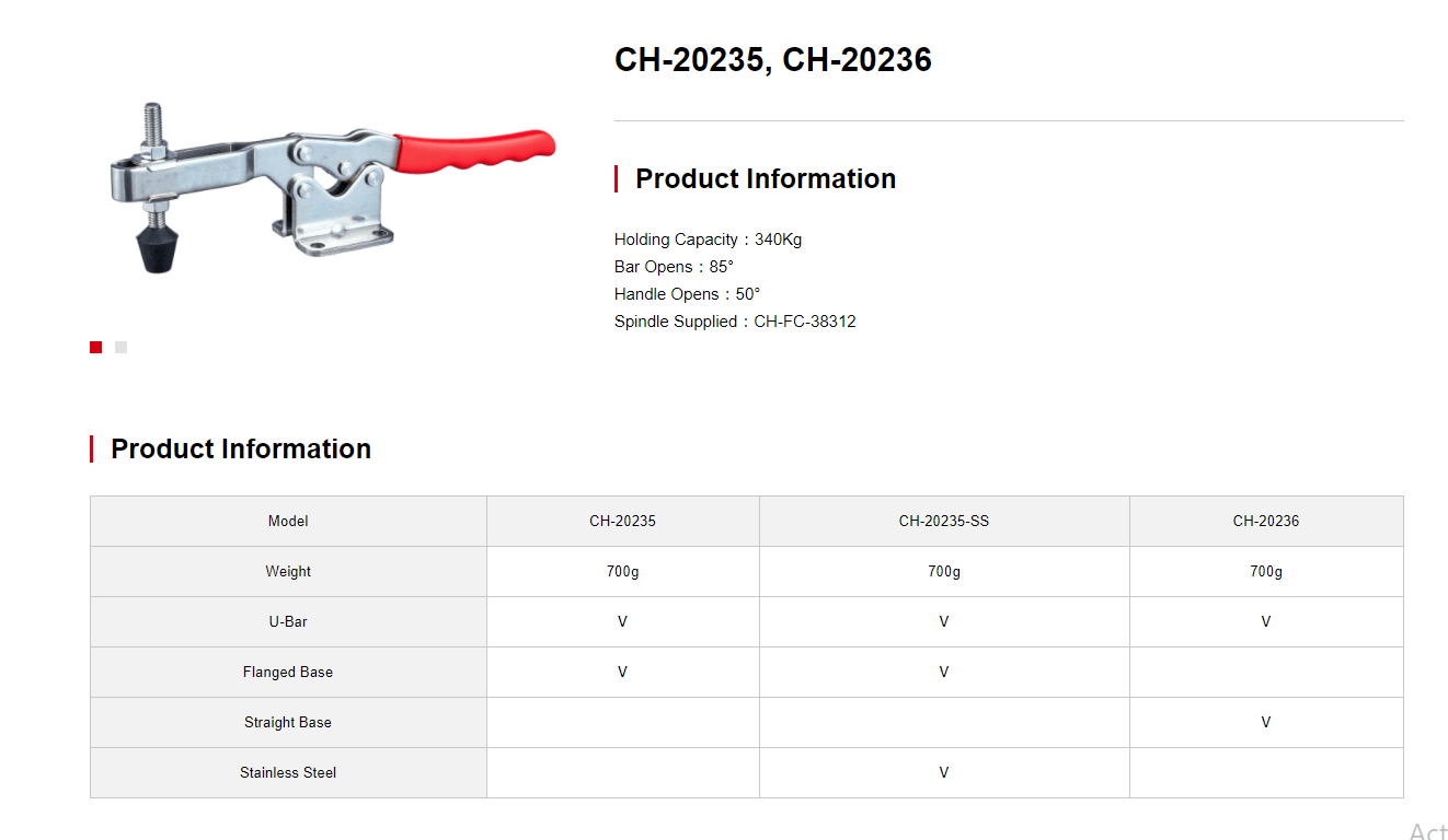 کاتالوگ کلمپ دسته افقی CH-20235 clamptek