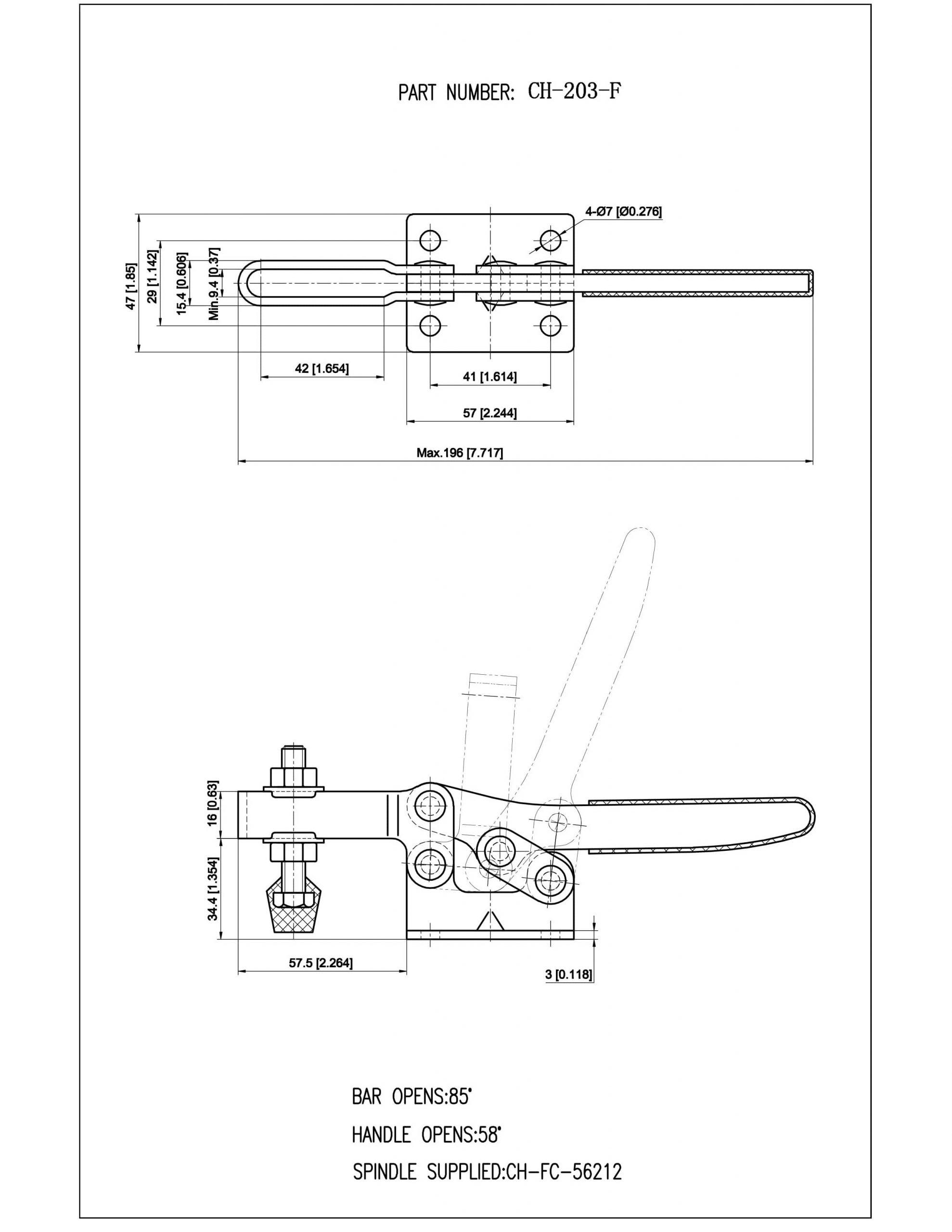 کاتالوگ کلمپ دسته افقی CH-203-F clamptek