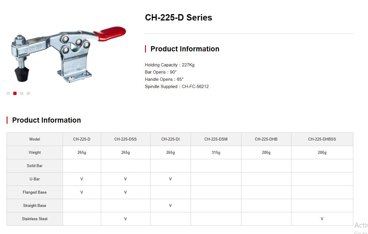 کاتالوگ کلمپ دسته افقی کد CH-225-D Clamptek