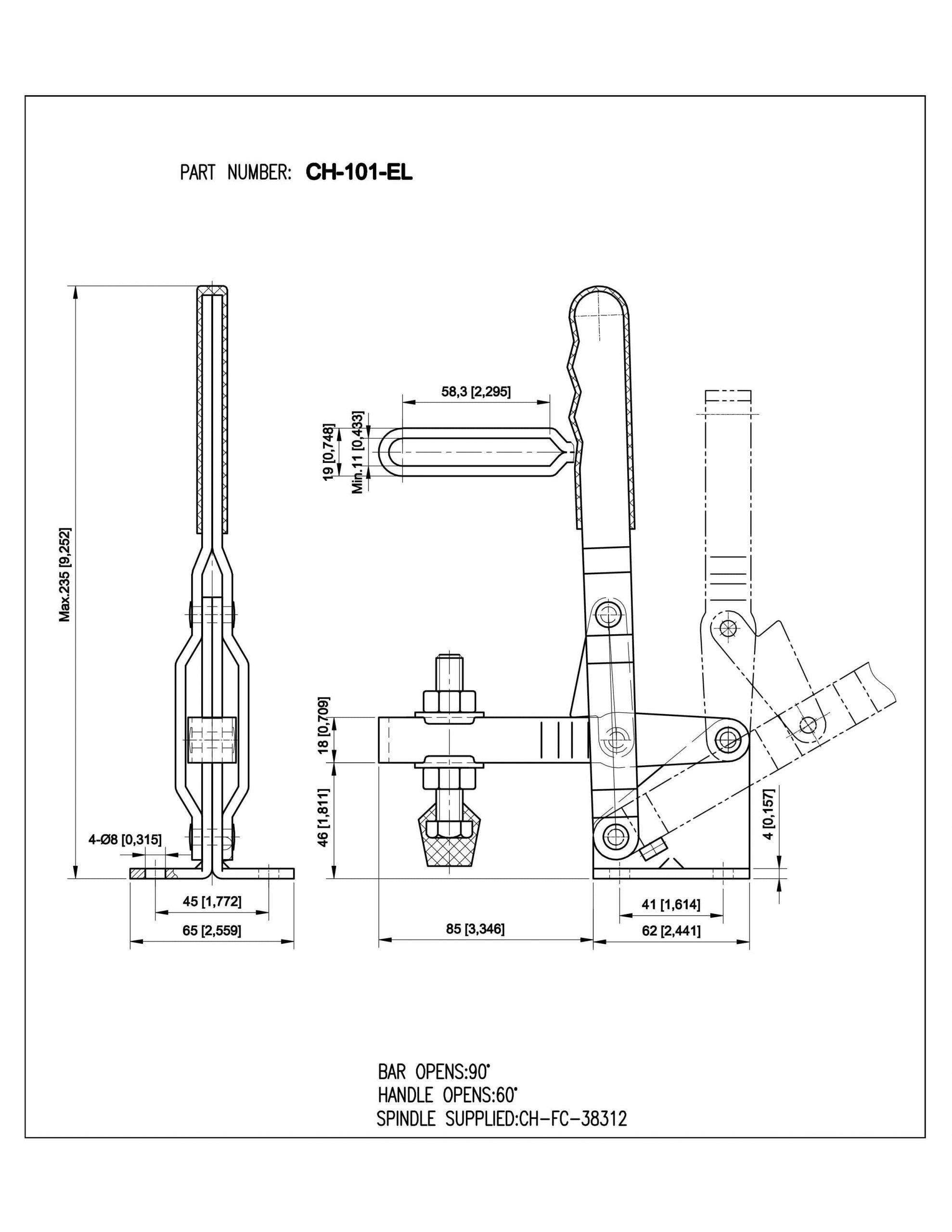فروش کلمپ دسته عمودی تک CH-101-EL