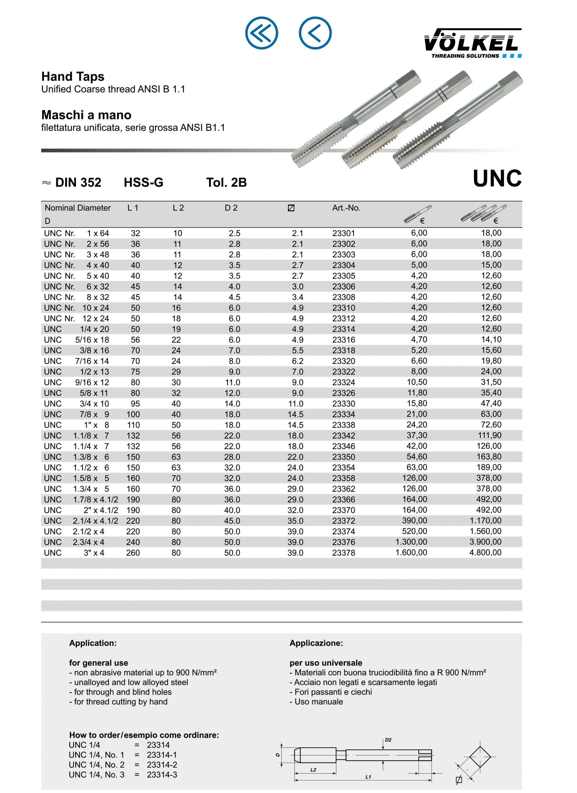 کاتالوگ قلاویز دستی اینچی UNC ولکل volkel