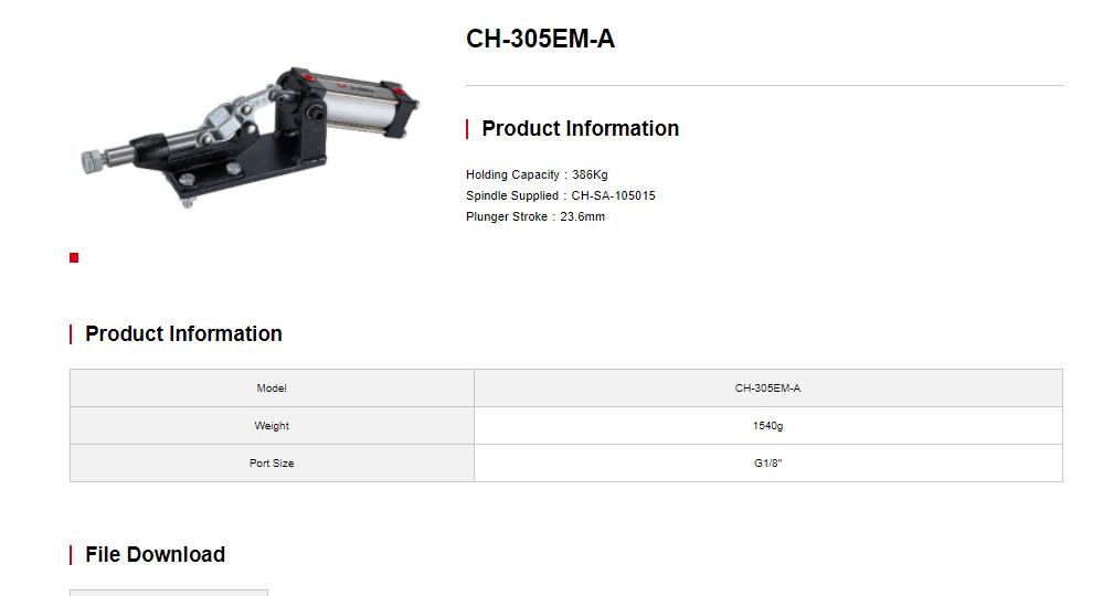 کاتالوگ کلمپ بادی CH-305-EA Clamptek