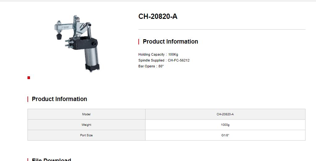 کاتالوگ کلمپ بادی CH-20820-A Clamptek