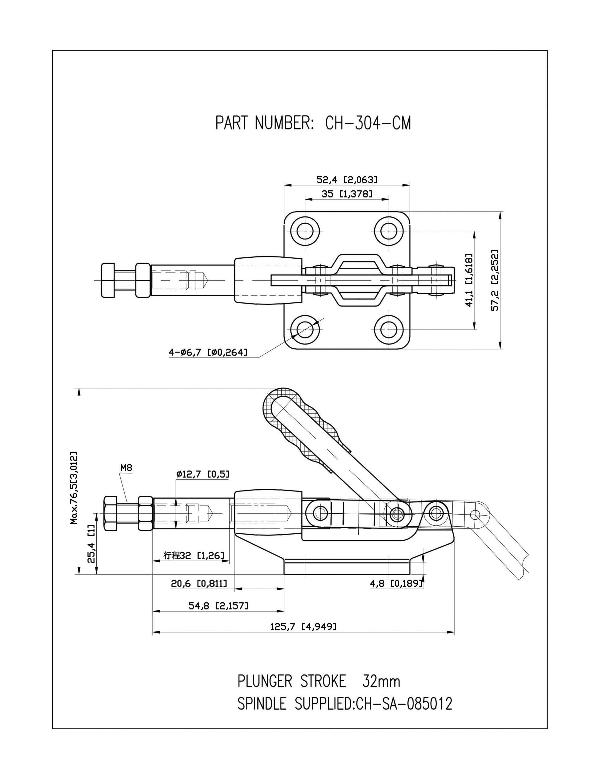 خرید کلمپ فشاری افقی CH-304-CM clamptek