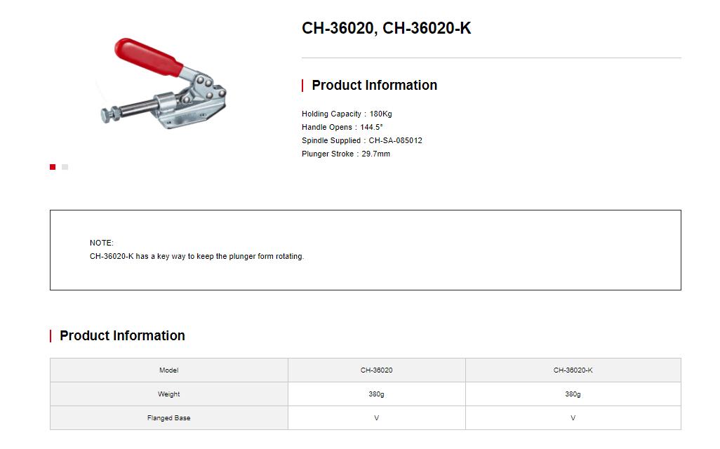 کاتالوگ کلمپ افقی فشاری CH-36020k clamptek