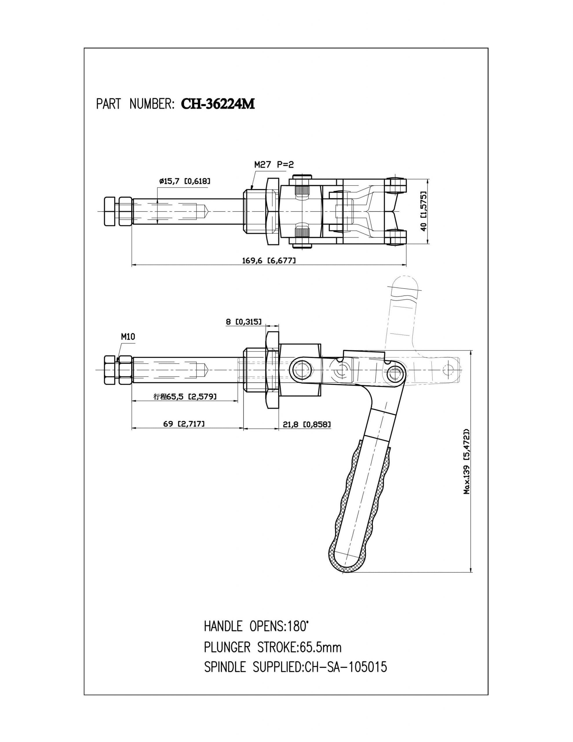 کاتالوگ کلمپ فشاری افقی کد 36224M برند clamptek