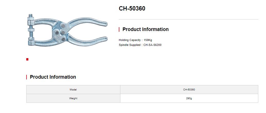 کاتالوگ کلمپ انبردستی CH-50360 کلمپتک