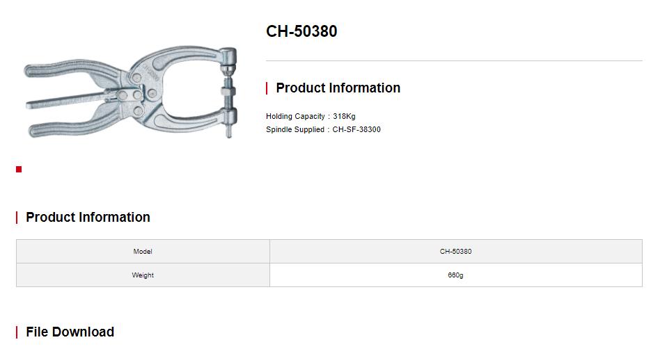 کاتالوگ کلمپ انبردستی CH-50380 کلمپتک