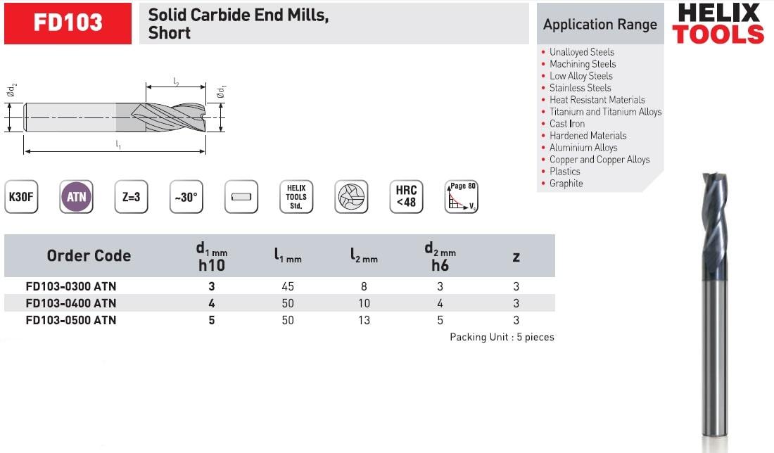 کاتالوگ فرز انگشتی کارباید کوتاه دو پر FD102 هلیکس